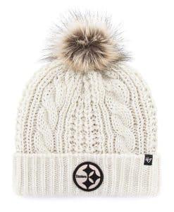 Pittsburgh Steelers Women's 47 Brand White Meeko Cuff Knit Hat