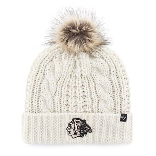 Chicago Blackhawks Women's 47 Brand White Cream Meeko Cuff Knit Hat