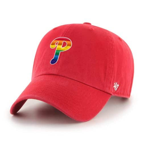 Philadelphia Phillies Pride 47 Brand Red Clean Up Adjustable Hat