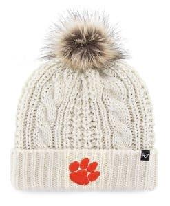 Clemson Tigers Women's 47 Brand White Cream Meeko Cuff Knit Hat