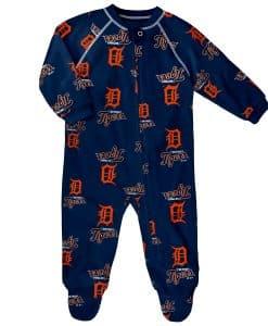 Detroit Tigers Baby Navy Raglan Zip Up Sleeper Coverall