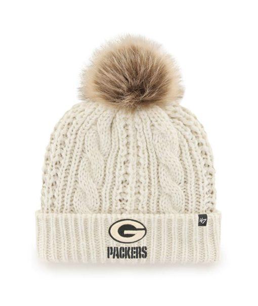 Green Bay Packers Women's 47 Brand White Cream Meeko Cuff Knit Hat