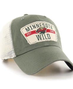 Minnesota Wild 47 Brand Vintage Green Crawford Clean Up Adjustable Hat