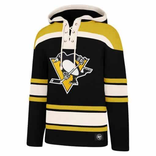 Pittsburgh Penguins Men's 47 Brand Jet Black Pullover Jersey Hoodie