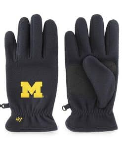 Michigan Wolverines Men's 47 Brand Navy Fleece Gloves
