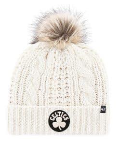 Boston Celtics Women's 47 Brand White Cream Meeko Cuff Knit Hat