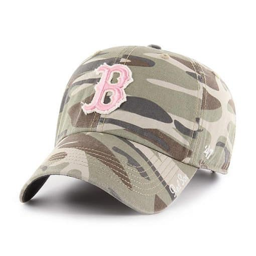 Boston Red Sox Women's 47 Brand Pink Camo Tarpoon Faded Adjustable Hat
