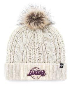 Los Angeles Lakers Women's 47 Brand White Cream Meeko Cuff Knit Hat