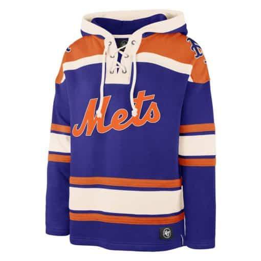New York Mets Men's 47 Brand Blue Pullover Jersey Hoodie