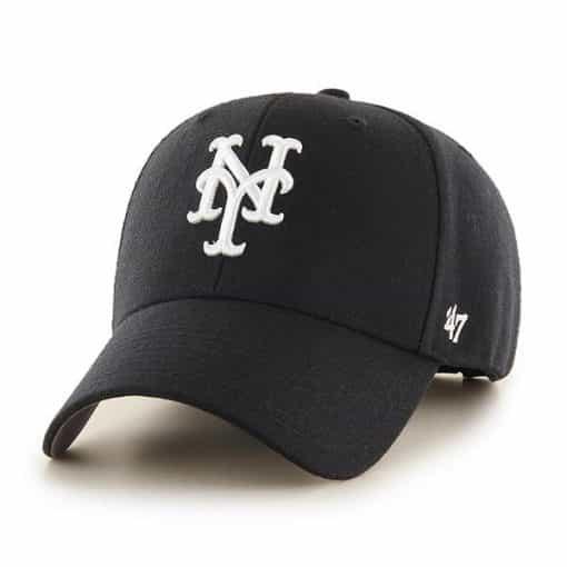 New York Mets 47 Brand White Logo Black MVP Adjustable Hat
