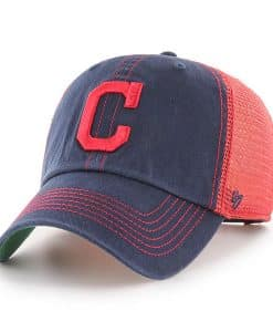 Cleveland Indians 47 Brand Trawler Navy Red Clean Up Mesh Snapback Hat