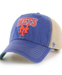 New York Mets 47 Brand Tuscaloosa Vintage Blue Clean Up Mesh Snapback Hat