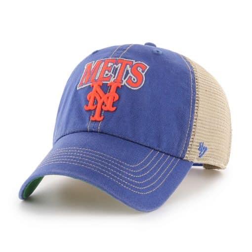 New York Mets 47 Brand Tuscaloosa Vintage Blue Clean Up Mesh Snapback Hat