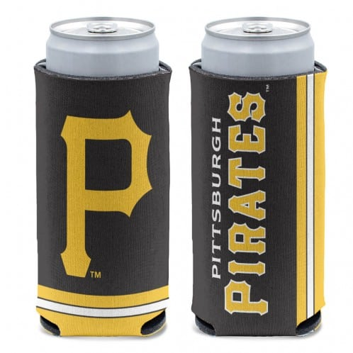 Pittsburgh Pirates 12 oz Black Slim Can Koozie Holder