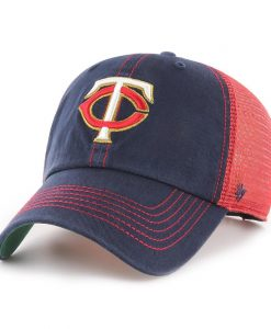 Minnesota Twins 47 Brand Trawler Navy Red Clean Up Mesh Snapback Hat