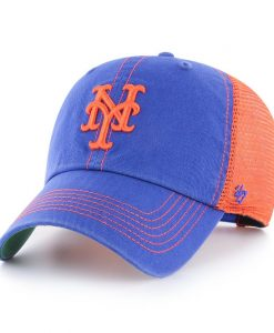 New York Mets 47 Brand Trawler Blue Orange Clean Up Mesh Snapback Hat