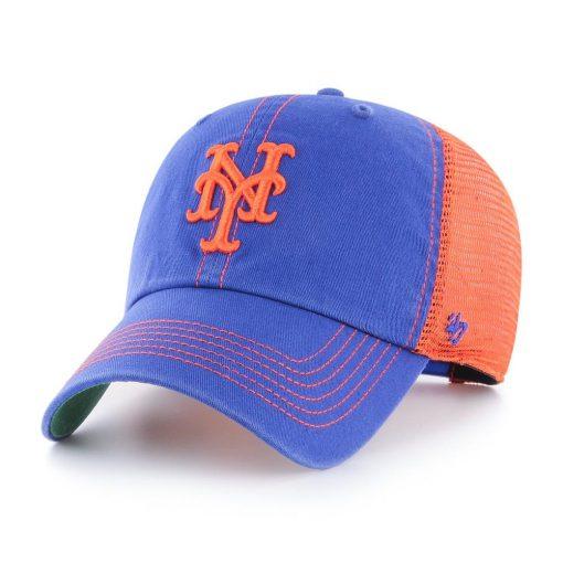 New York Mets 47 Brand Trawler Blue Orange Clean Up Mesh Snapback Hat