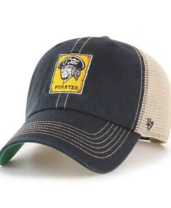 Pittsburgh Pirates 47 Brand Cooperstown Black Trawler Clean Up Mesh Snapback Hat