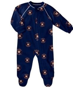 Houston Astros Baby Navy Raglan Zip Up Sleeper Coverall