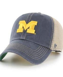 Michigan Wolverines 47 Brand Trawler Vintage Navy Clean Up Mesh Snapback Hat