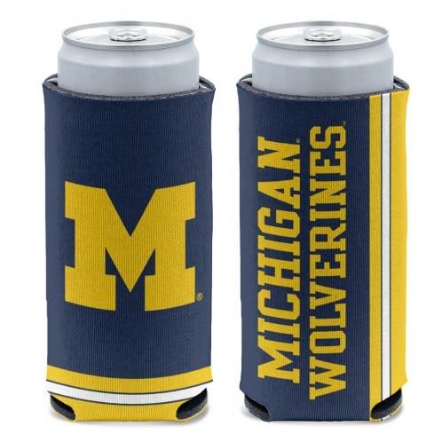 Michigan Wolverines 12 oz Blue Slim Can Koozie Holder