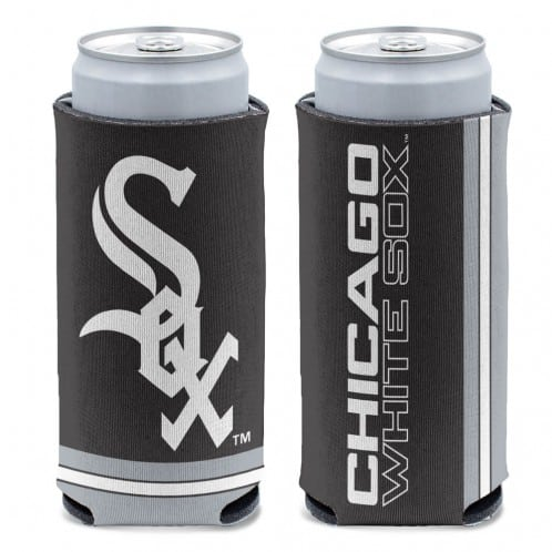 Chicago White Sox 12 oz Black Slim Can Koozie Holder