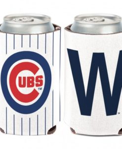 """Chicago Cubs 12 oz White Blue """"W"""" Can Koozie Holder"""