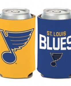 St Louis Blues 12 oz Blue Yellow Can Koozie Holder