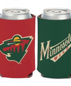 Minnesota Wild 12 oz Green Red Can Koozie Holder