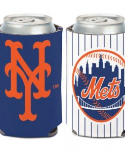 New York Mets 12 oz White Navy Can Koozie Holder
