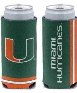 Miami Hurricanes 12 oz Green Slim Can Koozie Holder