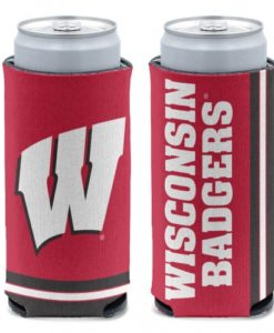 Wisconsin Badgers 12 oz Red Slim Can Koozie Holder