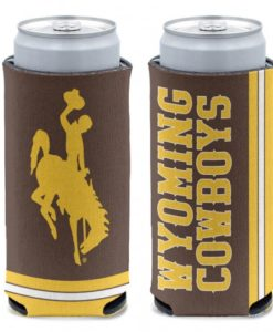 Wyoming Cowboys 12 oz Brown Slim Can Koozie Holder