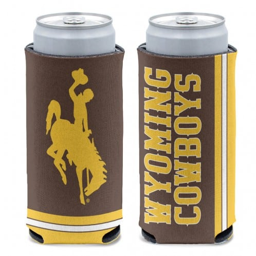 Wyoming Cowboys 12 oz Brown Slim Can Koozie Holder
