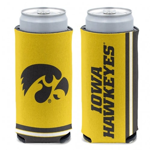 Iowa Hawkeyes 12 oz Yellow Slim Can Koozie Holder