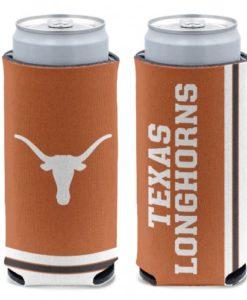 Texas Longhorns 12 oz Brown Slim Can Koozie Holder