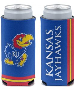 Kansas Jayhawks 12 oz Blue Slim Can Koozie Holder