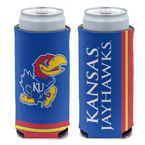 Kansas Jayhawks 12 oz Blue Slim Can Koozie Holder