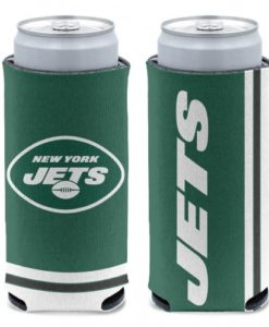 New York Jets 12 oz Green Slim Can Koozie Holder