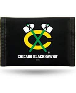 Chicago Blackhawks Black Nylon Trifold Wallet