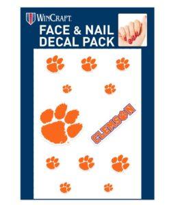 Clemson Tigers Face & Fingernail Tattoos
