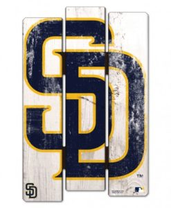 San Diego Padres Blue Gold Wood Fence Sign