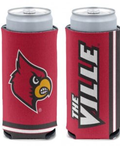 Louisville Cardinals 12 oz Red Slim Can Koozie Holder