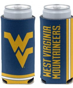 West Virginia Mountaineers 12 oz Navy Slim Can Koozie Holder