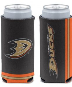 Anaheim Ducks 12 oz Black Slim Can Koozie Holder