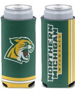 Northern Michigan Wildcats 12 oz Green Slim Can Koozie Holder