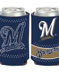 Milwaukee Brewers 12 oz Navy Bling Can Koozie Holder