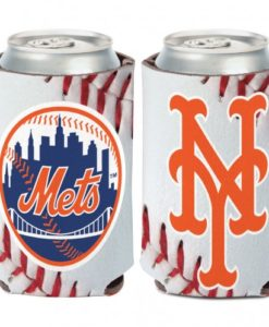 New York Mets 12 oz White Red Ball Design Can Koozie Holder