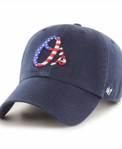 Baltimore Orioles Red White & Blue 47 Brand Navy Clean Up Adjustable Hat