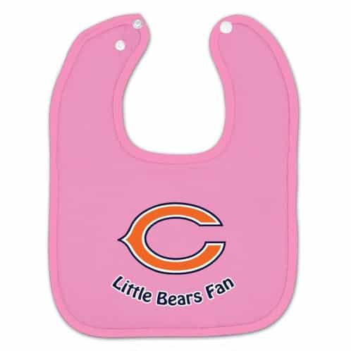 Chicago Bears Pink Snap Baby Bib